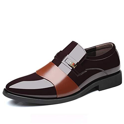 DINGGUANGHE-SHOES Lackleder Stilvolle Bequeme Business Oxford Casual Breathes Die Farbe Britischer Stil Spitze Lackleder Formelle Schuhe Abendgarderobe Dress Schuhe (Color : Braun, Größe : 43 EU) Feine Oxford