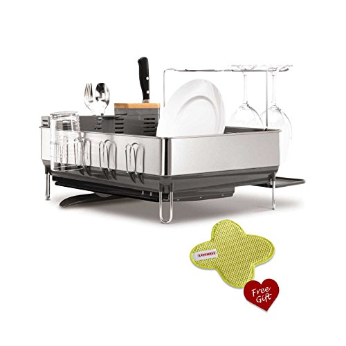 simplehuman-kt1154-steel-frame-dish-rack-with-wine-glass-holder-free-trio-pad-washing-up-scouring-pa