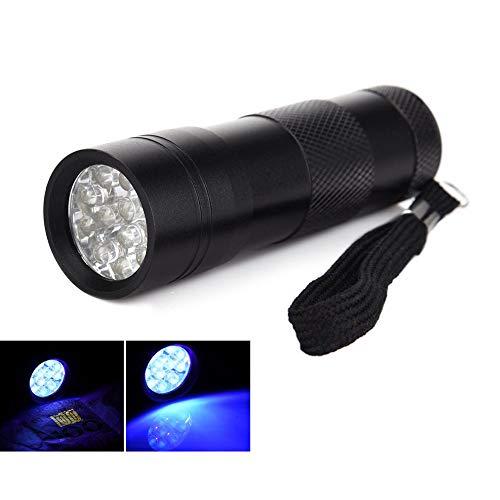 Juman634 Flash Light Einstellbarer Fokus Zoom Ultraviolette Taschenlampe 12 LED UV-Licht erkennt Wasserzeichen Geld Taschenlampe Skorpion Taschenlampe Lampe im Freien -