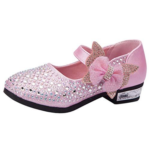 TEBAISE Festliche Tanzschuhe Kinder Mädchen Glitzer Ballerinas Schuhe für Partys und Freizeit mit Echt Leder Innensohle für Partys und Freizeit Kinderschuhe Kristall Einzelne Prinzessin Schuhe