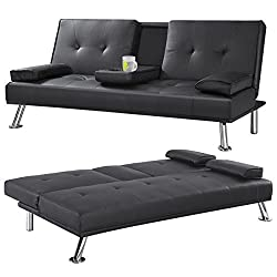Popamazing Faux Leather Folding Sofa Bed With Cup Holders (Black)