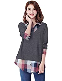 LHWY New Look Women Long Sleeve Patchwork Plaid Turn-Down Collars T-Shirt Blouse Top Cheker Shirts