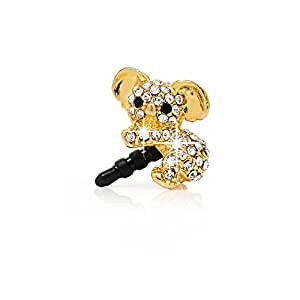 Mavis's Diary 1X 3.5 mm Gemeinsames 3D Cute Koala Bling Strass Staub Schutz Glitter Headset Staubschutz Glitzer Diamant Kristall Stöpsel Anti-Dust Plug Anti-Staub-Stecker
