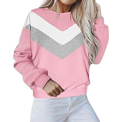 CixNy Sweater Damen Rundhals Langarm Sweatshirt Patchwork Pullover Bluse Shirts Freizeit Oberteile Hemdbluse Tunika (Rosa, XL) -