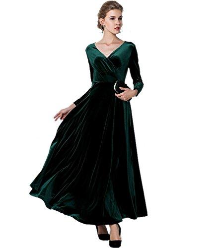 Medeshe Women's Emerald Green Christmas Long Velvet Party Maxi Dress (UK 20/22, Emerald Green)