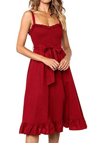 Lantch Sommerkleider Damen Kurzarm V-Ausschnitt Strand Kleider Elegant Vintage Abendkleid Knielang (1-Rot, L) (Sommer Kleid Hüte Für Frauen)