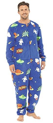 Tom Franks Herren Weltraum Muster Flausch Strampelanzug Schlafanzug (Blau) - Weltraum Kostüm Männer