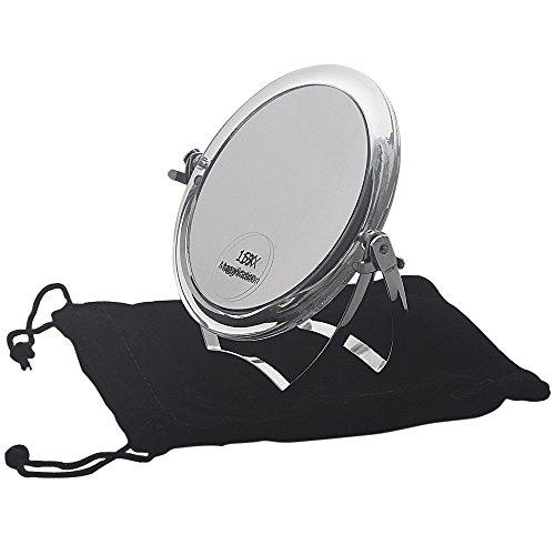 Kosmetex Reise-Spiegel 11cm Standspiegel mit 15-fach Vergrößerung RS 1:1, Acryl mit Metallbügel,...