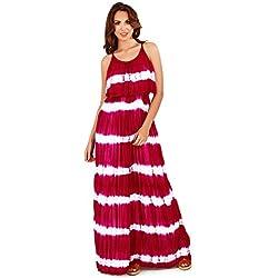 Mujer Pistachio Tie-dye Estampado De Rayas Largo Con Correas Vestido Largo Con Con Plisados Sobrepuesto - Rojo, Size - Large - GB 16-18