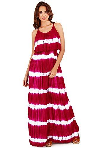 Pistachio Donna Stampa Tie-dye Con Bretelline Spiaggia Abito Lungo Con Volant Sovrastrato Rosso