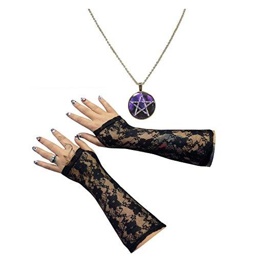Lila Gothic Pentagramm Anhänger Halskette + lange Halbhand Spitzen Handschuhe