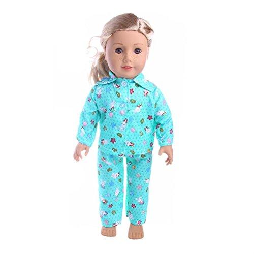 Kleidung & Accessoires Rosa Einteiler Pyjamas Set für 18 Zoll American Girl Puppe Kleidung