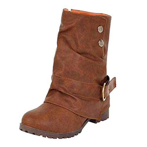 VJGOAL Damen Stiefel, Damen Mode Leder Low Heel Schnalle Kunstleder Stiefel Patchwork Knöchel Reißverschluss warme Kurze Schuhe (Braun, 37 EU)