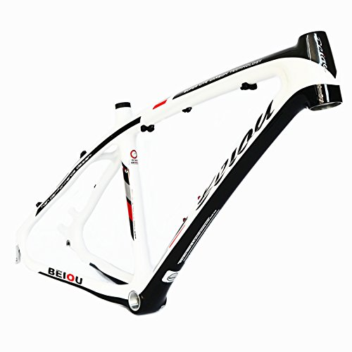Beiou ® en fibre de carbone 3 K Mountain Bike Frame Blanc brillant 17