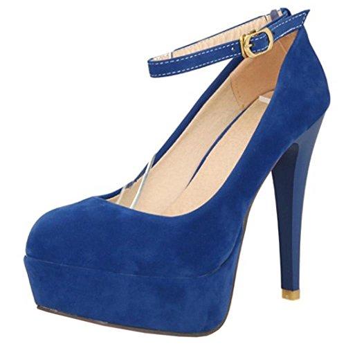 COOLCEPT Femmes Mode Sangle de cheville Talon Aiguille Soiree Robe Talons hauts Court Chaussures Bleu