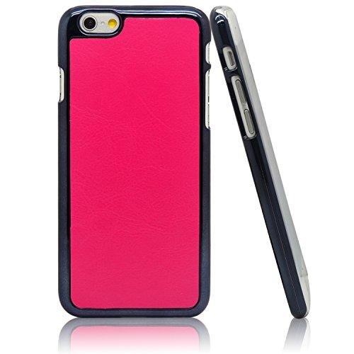 """iProtect Apple iPhone 6 (4,7"""") 6s Hülle Hard Case mit Kunstleder Schutzhülle schwarz rosa Hardcase Leder Pink"""