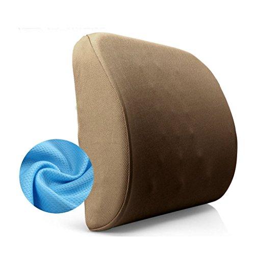 uus Memory Foam Pillows lent rebond de taille, Tampons taille, Bureau Coussins, coussins de siège de voiture, Taille: 40 * 34 * 10CM ( Couleur : Marron )