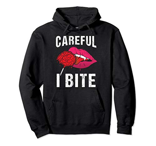 Careful I Bite Sexy Lippen Vampir Zähne Halloween Kostüm Pullover - Werwolf Hoodie Kostüm