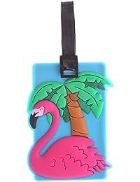Targhetta etichetta in pvc per valigia bagaglio design Fenicottero tropicale