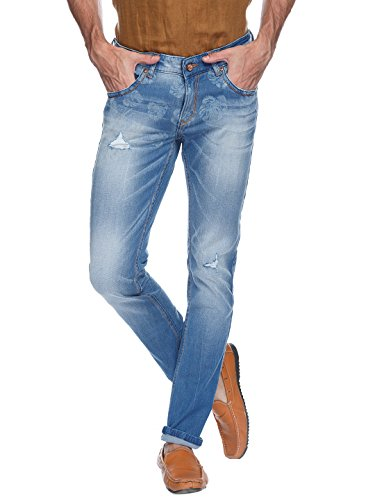 Spykar Mens Light Blue Rover Fit Low Rise Jeans (actif)