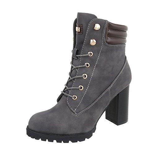 Ital-Design Schnürstiefeletten Damen-Schuhe Schnürstiefeletten Pump High Heels Reißverschluss Stiefeletten Grau, Gr 37, S89-