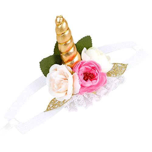 STOBOK Einhorn Stirnband Floral Haustier Kostüme Hund Katze Pet Dress Up Party Supplies Größe S (Golden) (Einhorn Kostüm Für Katzen)