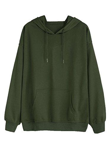 DIDK Damen Kapuzenpullover Einfarbig Hoodie Langarm Sweatshirt mit Tunnelzug und Kängurutasche Grün M