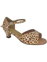 misu - Zapatillas de danza para mujer Marrón estampado animal, color Marrón, talla 36.5