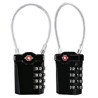 TSA Gepäckschlösser [2 Stück] [Aufgerüstet] Diyife 4-stellige Kombination Sicherheitsschloss Reiseschloss, Mit 14 cm Flexiblem Kabel Für Koffer Gepäck Rucksack Schul oder Gym Kabinett, usw. (Schwarz)