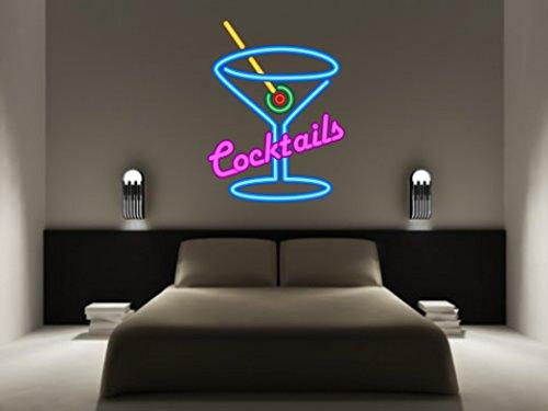 Kapowboom Graphics Cocktails Neon Effekt Wandtattoo Martini Glas Champagner Prosecco Wein sprudelnd Bubbles Aufkleber Art Küche Bar Modern Trendige, Vinyl, X-Large - 100cm high x 76cm Wide