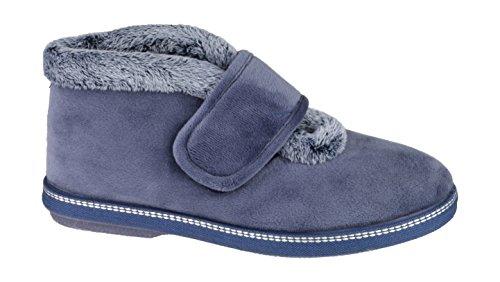 Cotswold Horcott Mesdames petite botte fourrure collier Velcro Slipper Blueberry