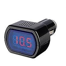 Lumanuby Auto - Medidor de voltaje de batería para coche, indicador LED, medidor digital, comprobador de batería de 12 – 24 V