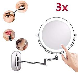 Y-only Schminkspiegel mit Licht und VergroBerung mit 3x/5x/10x Fache Vergrößerung Touchscreen Batterie Schminkspiegel…