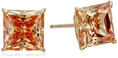 10k-yellow-gold-champagne-swarovski-zirconia-princess-cut-stud-earrings