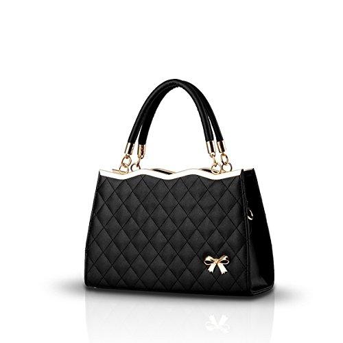 Nicole&Doris Leather PU Soft Surface nuove donne / signore borsa a tracolla Borsello grata di diamante Nero
