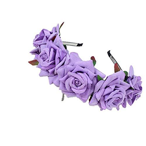 FORLADY Rose Flower Ring Hoop Beach Holiday accesorios de disparo floral de  la flor diadema Crown 00af7ed067b0