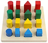 #5: CraftDev Geometry Shape Sorter Blocks Wooden Toys for Kids Ages 3+ Years