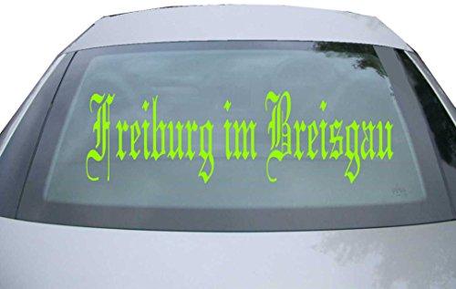 INDIGOS UG - Aufkleber Heckscheibe & Motorklappe DE6501 - neongrün - 600x180 mm - Stadt Freiburg im Breisgau - Auto Scheiben Fenster Heckklappe Tuning Racing JDM - Die Cut
