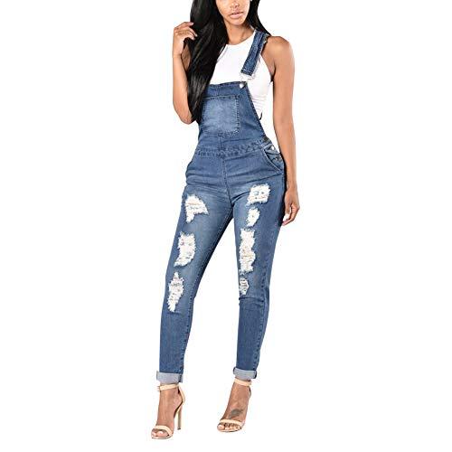 Xinvivion Damen Latzhosen Jeans, Lang Denim Overalls Jeanshosen Skinny Blau Jumpsuit Slim Fit Casual Playsuit Dungarees -