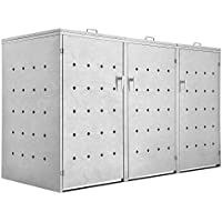 Zelsius Rhombus Cement - Armario para 3 contenedores de Basura de 120 o 240 litros (Tapa con 3 Tapas)