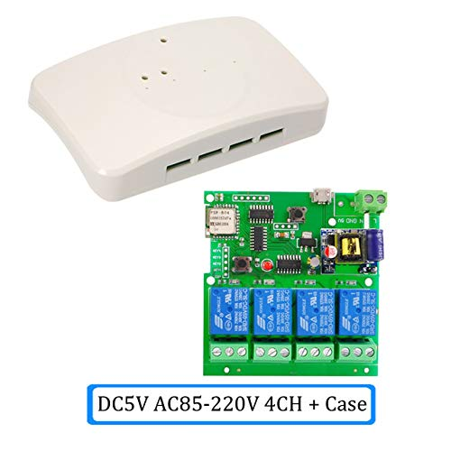 4ch WIFI Switch 5V/dc7-32v 4-way Relay rf receive Jog Inching Self-locking wireless remote control for smart home Automation Modules (4ch 85-250v with case) -