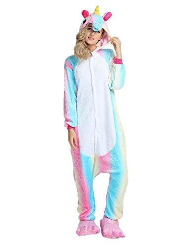 Kenmont Licorne Pyjama Deguisement Combinaison Animaux Pijama Adulte Enfant Unisexe Cosplay Costume Kigurumi Halloween  - Multicolore - S