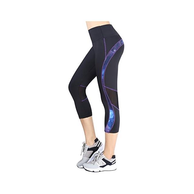 Munvot Legging Capri Pantacourt de Sport Femme Coupe Genoux Amincissant - avec  Poche Yoga Fitness Jogging ... 166b7d4277c