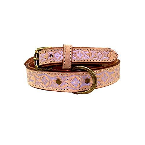 MICHUR CREEK, Hundehalsband, Lederhalsband, Halsband, BEIGE, LEDER, fliederbarbene Stanzungen, in verschiedenen Größen erhältlich - 2