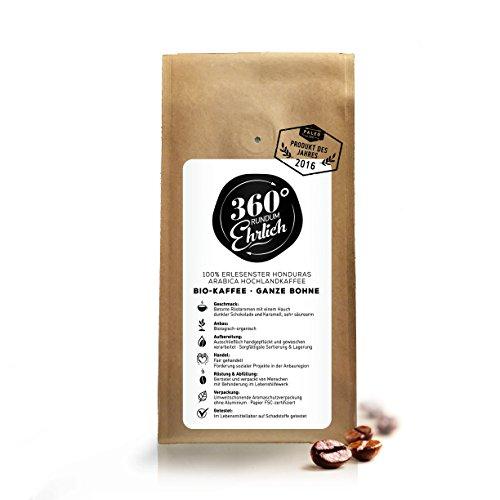 Premium Bio Kaffee preisgekrönt von 360° rundum ehrlich | Köstlich, sehr säurearm und bekömmlich | Honduras Hochland Arabica fair gehandelt | Öko-Verpackung 250g