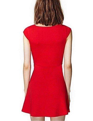 PU&PU Robe Aux femmes Gaine Street Chic,Couleur Pleine V Profond Au dessus du genou Polyester RED-S