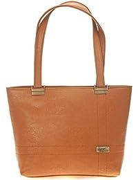 Aliado Faux Leather Solid Brown Zipper Closure Tote Bag For Women For Women