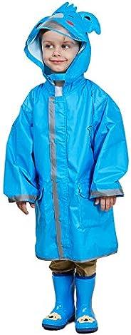 LIVACASA Chubasquero Chaqueta Lluvia Niño Impermeable Capa de Lluvia Grande Sombrero con Seguridad Advertencia