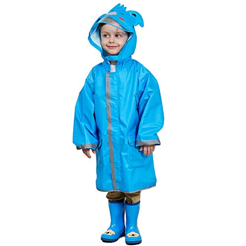 LIVACASA Boys Girls Rain Poncho Hooded Kids Waterproof Reflective Raincoat Breathable Cute Animal Pattern with Adjustable Waist Windproof Cuff 2-10 Years