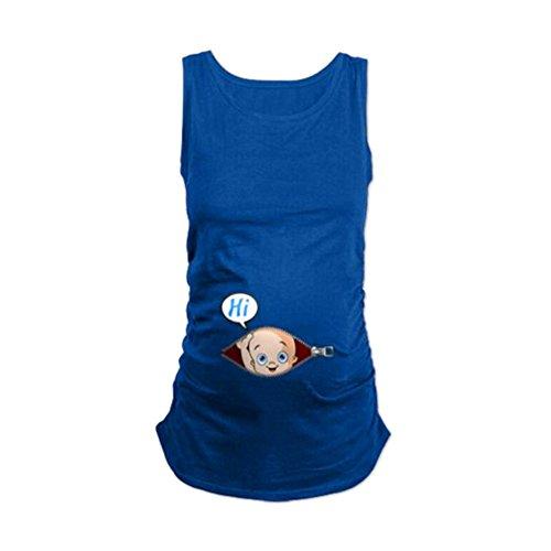 Frauen T-Shirt Kostüm Sommer Lustige Baumwolle Weste Tops Dunkelblau XL (Lustige Kostüme Schwangerschaft)